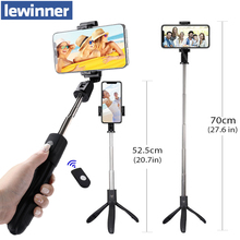 Lewinner K06 כף יד להארכה חצובה חדרגל מצלמה טלפון Selfie מקל עם Bluetooth מרחוק תריס נייד טלפון מקל