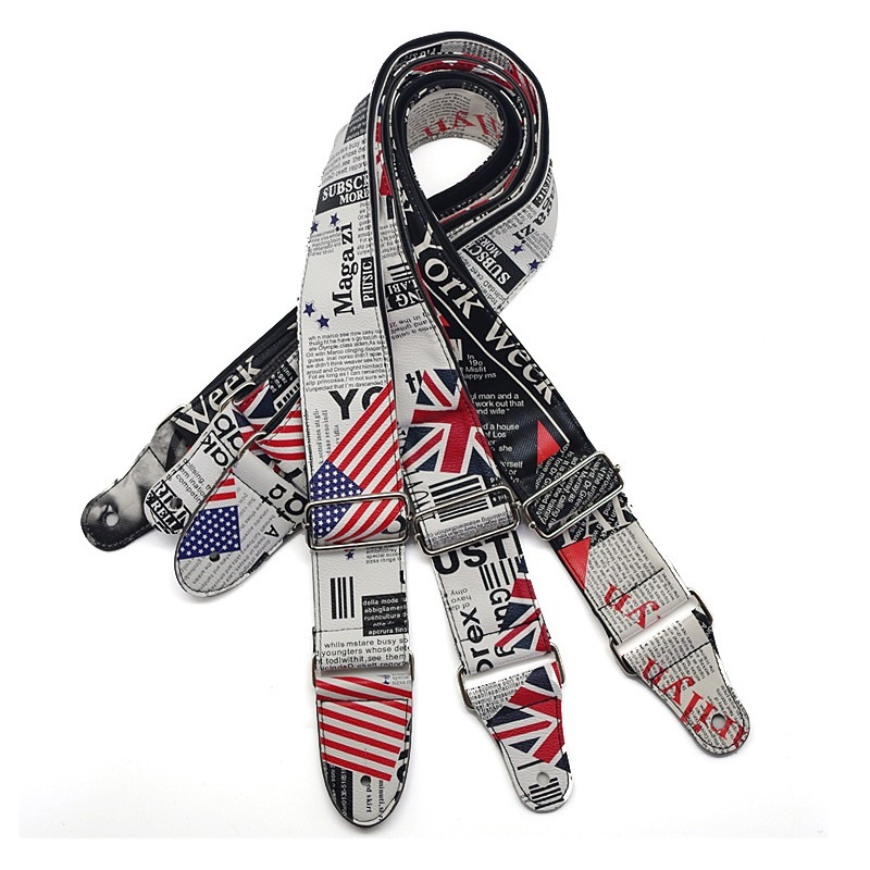 folk acoustic guitar strap british american flags classic guitar straps personalized doodle sty. Black Bedroom Furniture Sets. Home Design Ideas