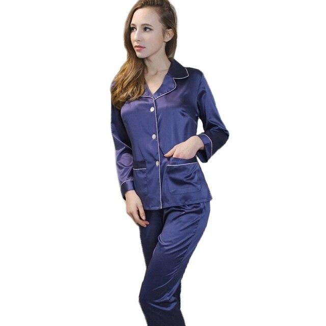 Azul de seda de tela de manga larga + long pants home wear las mujeres ropa de dormir pijamas set con turn-down collar gota de la alta calidad gratis