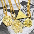 "5 Design New Last Kings PHARAOH Gold Pendant Iced Out Necklace with 24""/27.5""/30"" Hip Hop Cuban/Rope Chain Necklace King Tut"