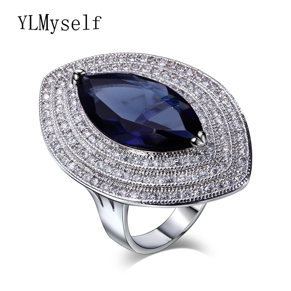 2018 trendy jewelry with big horse eye zirconia stones Red Champagne Blue Gold 4 colors cz rings Unique Design of Luxury Ring