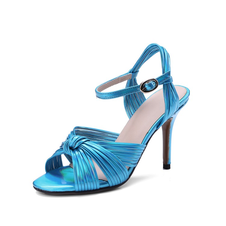 Abierta Moda Cielo Cuero Punta Las Mujeres Azul De Alto Zapatos Tacón azul Azul Sandalias oro Verano Señora Anudadas 1XWpa51q