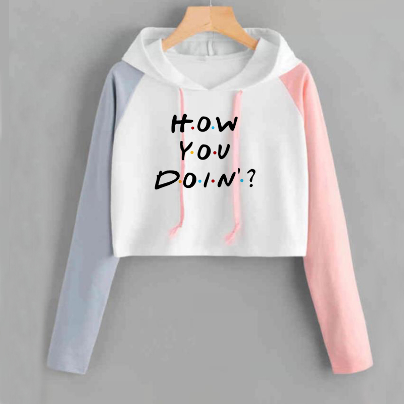 Crop Hoodie Women  Pullovers Friends Tv How You Doin Printed Funny Hoodies Women Harajuku Pink White Patchwork Pullover Outwear