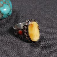 #7 ручной работы непальский 925 серебро Мила кольцо Тибетский кольцо из стерлингового серебра 925 серебряный желтый богемское кольцо