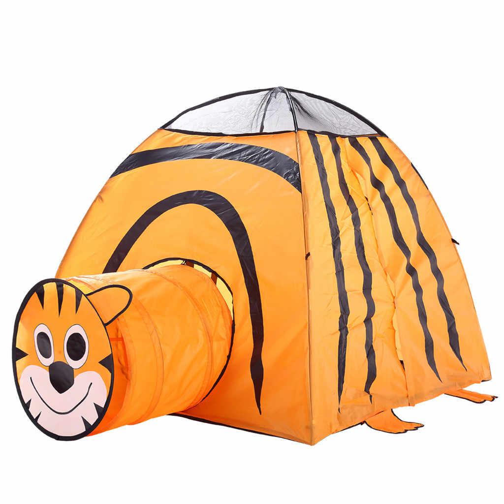 Детская одежда Детский вигвам игровой домик хлопок кровать-Тоннель шатер тигра складная кроватка палатка украшение в детскую комнату подарки на день рождения на открытом воздухе игрушечный домик