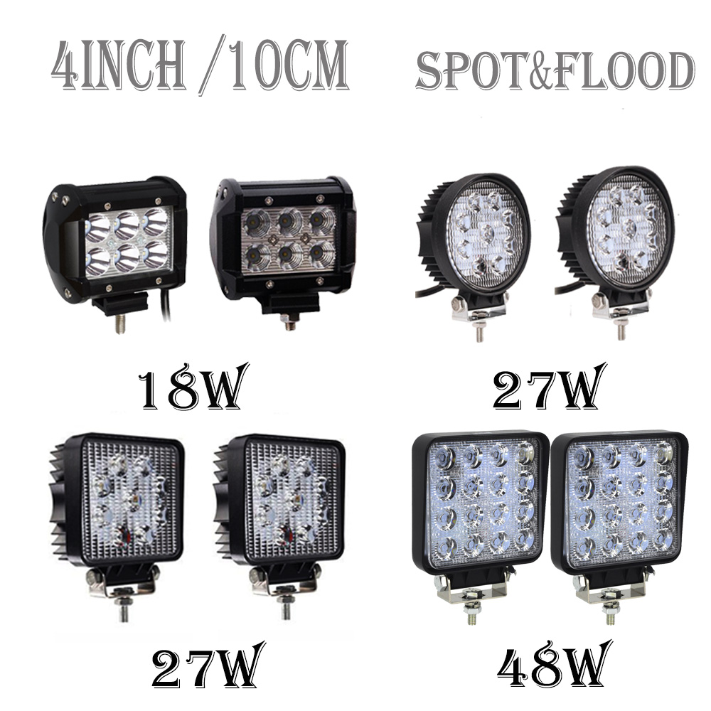 4inch 10cm 18W 27W 48W Offroad Car 4WD Truck Tractor Boat Trailer 4x4 SUV ATV 12V 24V Spot Flood LED Light Bar LED Work Light