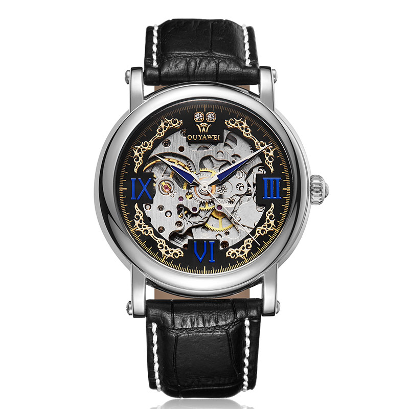 OUYAWEI Mens Automatic Skeleton mechanical Watch Luxury Brand Gold Wristwatch Stainless Male Watches Clock Relogio Masculino ouyawei luxury brand mens automatic self wind analog watches full steel band gold fashion dress skeleton wristwatch hombre gift
