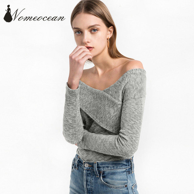 5784016cc5 Rib Knitted Pullover Sweaters 2017 Spring Crossed Off Shoulder Slash Neck Women  Sweaters Long Sleeve Tops of Women M17021414