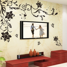 Warm sitting room TV setting wall stickers romantic bedroom wall painting black butterfly rattan flower wall stickers, sticke 906 classical geometry imitation leather grain embossing wallpaper 3d wall stickers brunet sitting room bedroom tv setting wall