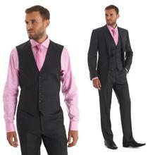 Hot Sale men suit High Quality Groom Wedding Suits lapel One Button Suit Formal Dress Dark Grey (jacket+pants+vest)