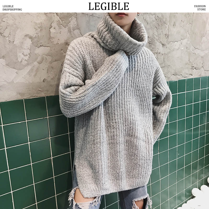 LEGIBLE Oversized Turtleneck Sweater Women Men Casual Winter Warm Sweater Pullover Male Autumn Knitted Male Sweaters