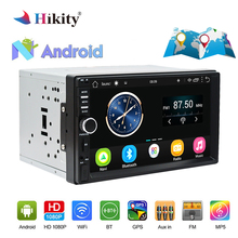 Hikity 7 »Android автомобильный Радио Стерео gps навигация 2 Din сенсорный USB автомобильный мультимедийный плеер аудио плеер Поддержка заднего вида камера