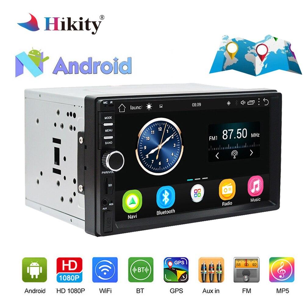 Hikity 7 ''Android autoradio stéréo GPS Navigation 2 Din tactile USB voiture lecteur multimédia lecteur Audio Support caméra de recul