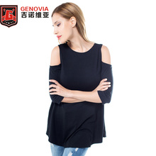 Women Shirt New Arrival 2017 summer Sexy Loose Leakage shoulder Large Tops T-shirt