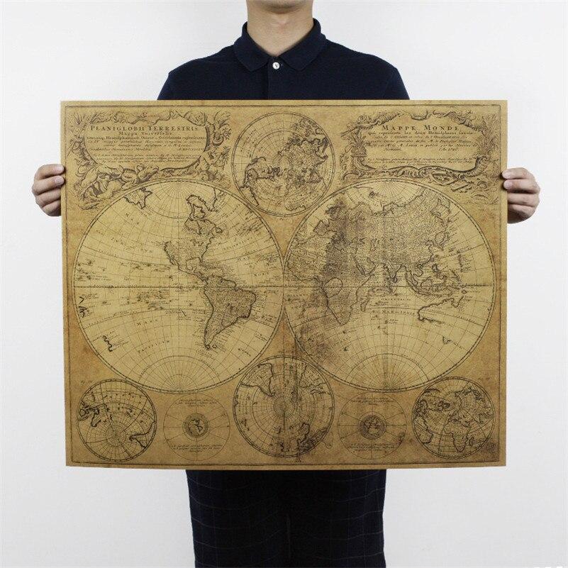 Большие размеры мира Географические карты плакат Ностальгический ретро крафт-бумага Винтаж Плакаты Плакат для гостиной украшения дома 72x51 ...