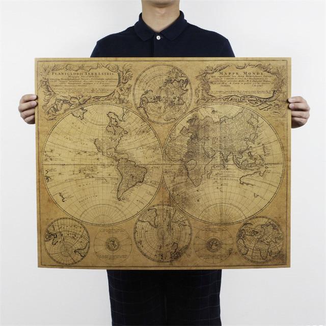 Большой размер Карта мира Плакат Ретро плакат на крафт-бумаге винтажные Плакаты для гостиной украшения дома 72x51 см ON036
