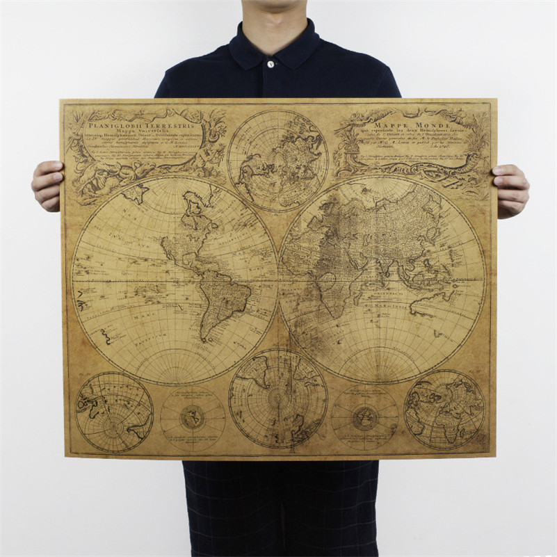 US $3.49 30% OFF|large size world Map poster nostalgic retro kraft paper  poster vintage posters for living room home decoration 72x51cm ON036-in  Wall ...