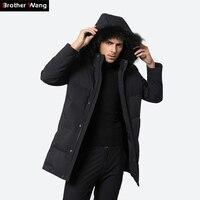 Производитель зима Для мужчин утка Пух Куртка Новинка 2017 года модный с капюшоном меховой воротник толстый теплый длинное пальто брендовая ...