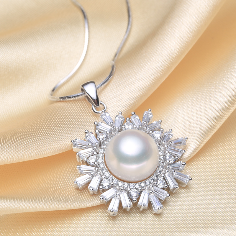 Éternel mariage femmes cadeau mot 925 Sterling réel [perle brillante] naturel perle d'eau douce pendentifs stea