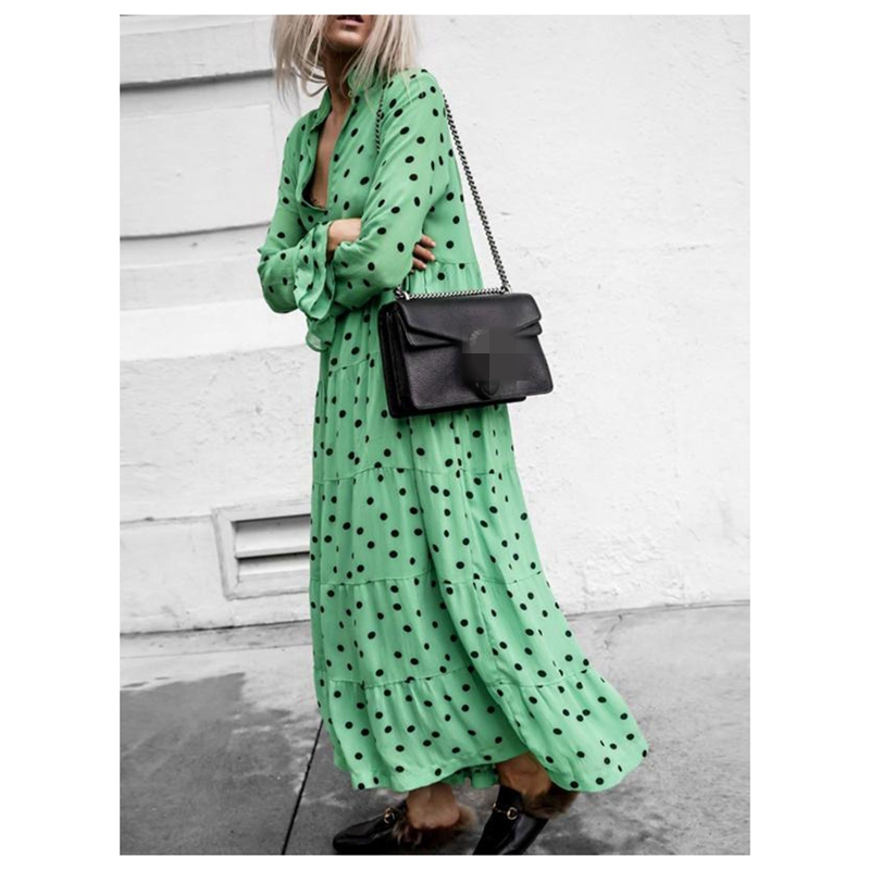 Womens Casual Long Sleeve V Plunge Evening Party Oversized Maxi Polka Dot Dress