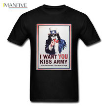 NEW KISS Band Men's T-Shirt KISS ARMY Hard Rock and Roll Vintage Men Shirt Top Short Sleeve O-Neck Cotton T shirt