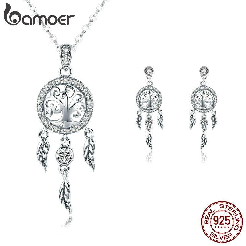 BAMOER auténtico 925 Sterling Silver Tree of Life Dream Catcher collares colgante joyería Set Sterling Silver Jewelry regalo