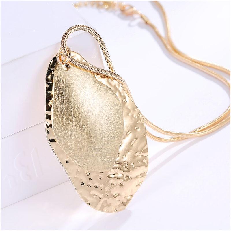 Venta caliente Simple Dibujo Joyería 3 colores Doble Oval collares colgante Mujeres collares largos collier Vintage Femme Accesorios