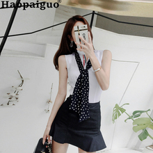 Plus Size Korean Streetwear Elegant Two Pieces Set Sleeveless White Shirt and Ruffles Mini Skirt Zipper 2 Office Suit
