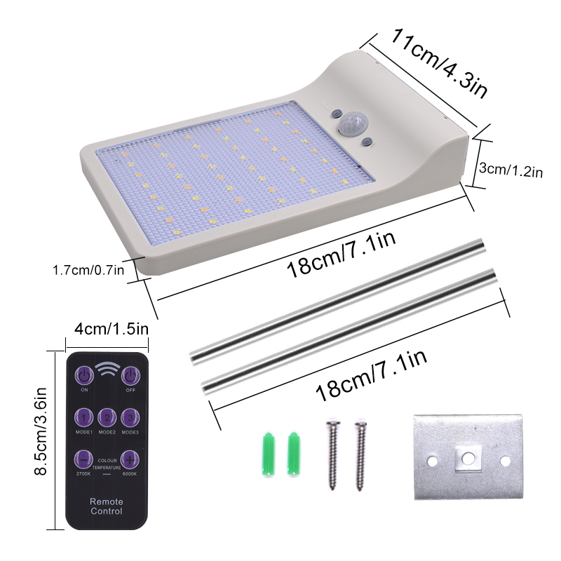 QLTEG 48 LEDS Remote Control 450LM Solar Lamp Human Body Induction Wall Light 3 Models Dimmable Outdoor Garden Yard Path Lamps