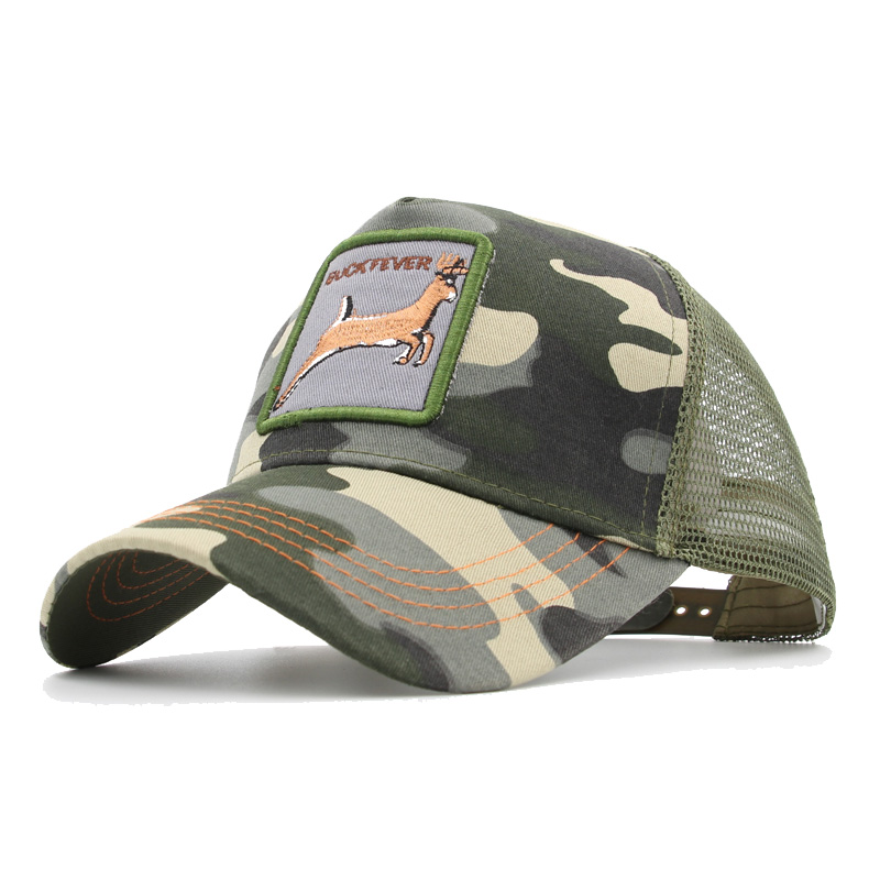 Custom Camo Mesh Trucker Hat Bunny Face with Teeth Embroidery Cotton One Size