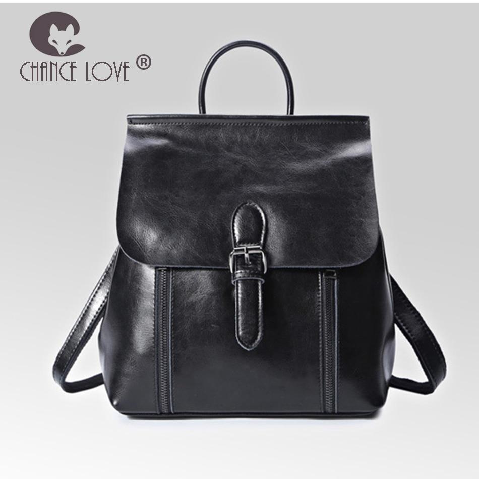 Chance Love 2018 new trend wild Genuine leather backpack female black female bag fashion oil wax leather women's backpack цена