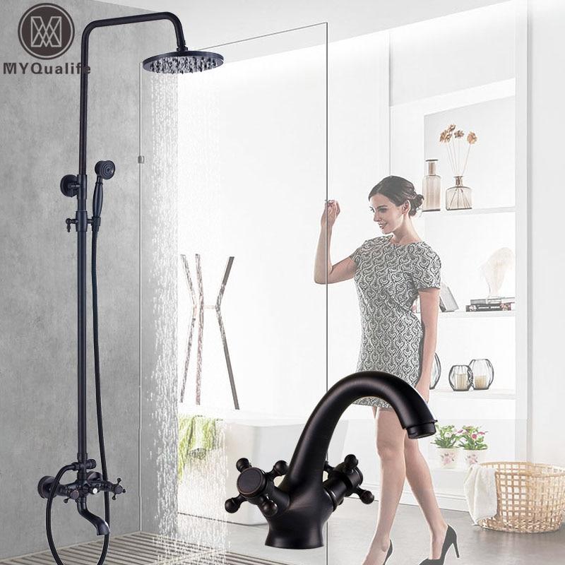 Black 8Rainfall Shower Faucet Mixers Dual Handle Height Adjustable Bath Shower Kit Hot Cold Bathroom Faucet Brass Storage Shelf