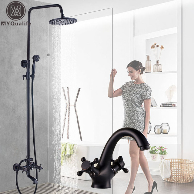 Black 8 Rainfall Shower Faucet Mixers Dual Handle Height Adjule Bath Kit Hot Cold