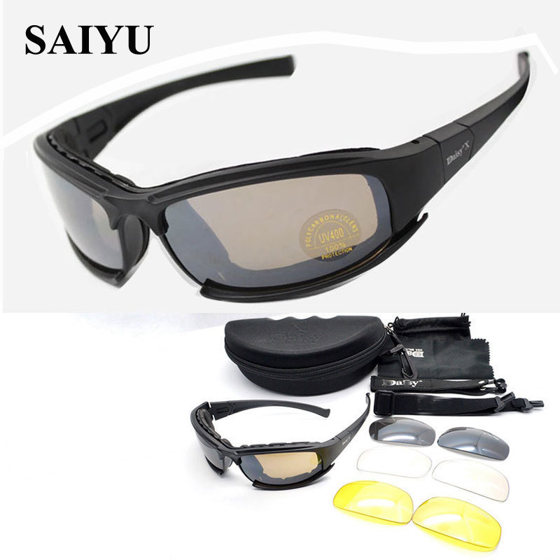 SAIYU X7 Military Goggles Bullet proof Army C6 Polarized Sunglasses 4 Lens Hunting Shooting Airsoft Cycling Motorcycle Glasses