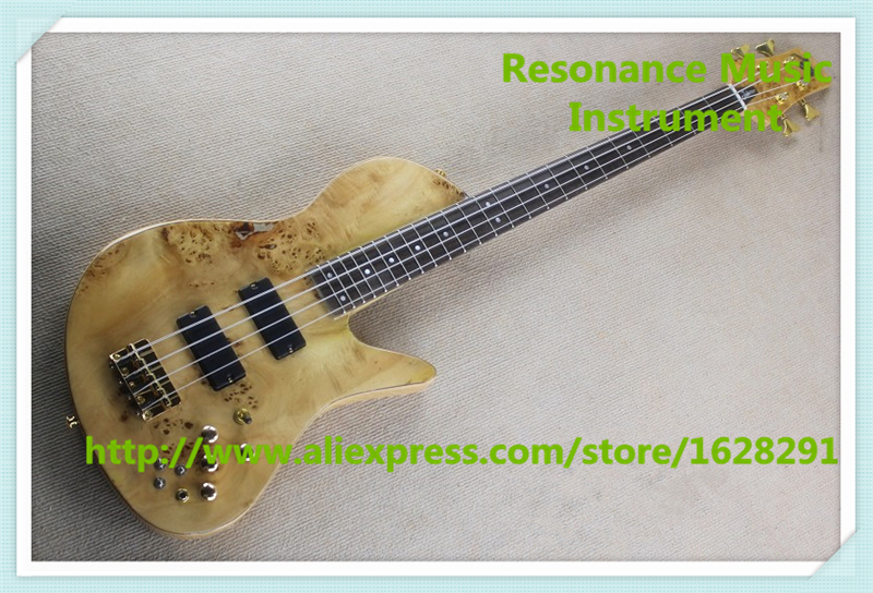 China Natural Wood Rotted Finish 4 String Fodera Electric Bass Guitar With Gold Hardware In Stock