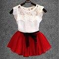 Nuevo 2017 verano de los bebés fija girl dress + camisa de gasa de encaje lindo del bowknot de la flor litera blusa señora princesa dress ropa del cabrito