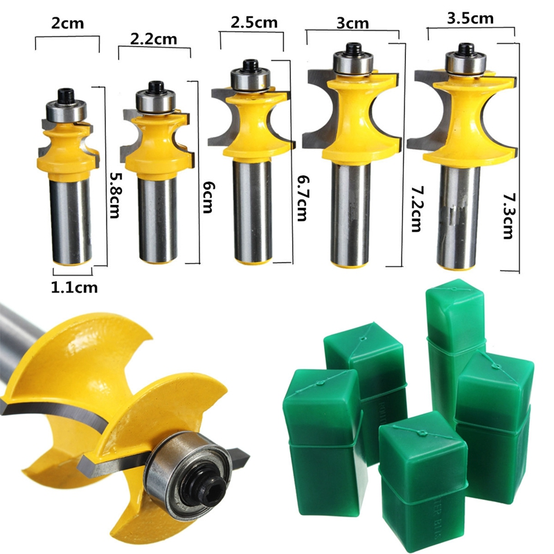 5PCS 1/2*1/4 -1/2*5/8 Carbide Bullnose Router Bit Set C3 Carbide Tipped 1/2 Shank Milling Cutter Wood Cutter Power Tools пэт 0 5 1 5 2 0 краснодар