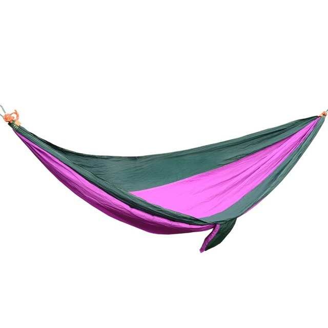 Free Shipping 260x130cm Hammock Camping Survival Hammock Parachute Cloth Portable Hammock outdoor Leisure Swing hanging Bed