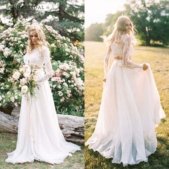 Boho Lace Wedding Dresses 2018 Casamento Country Style Designer