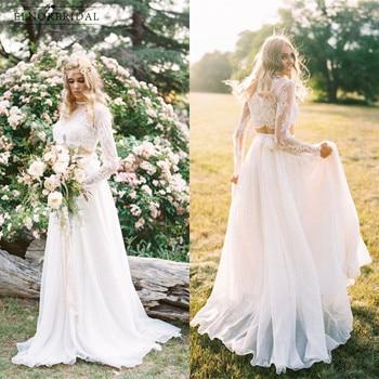 vestidos de novia de encaje bohemio 2018 casamento estilo rural de