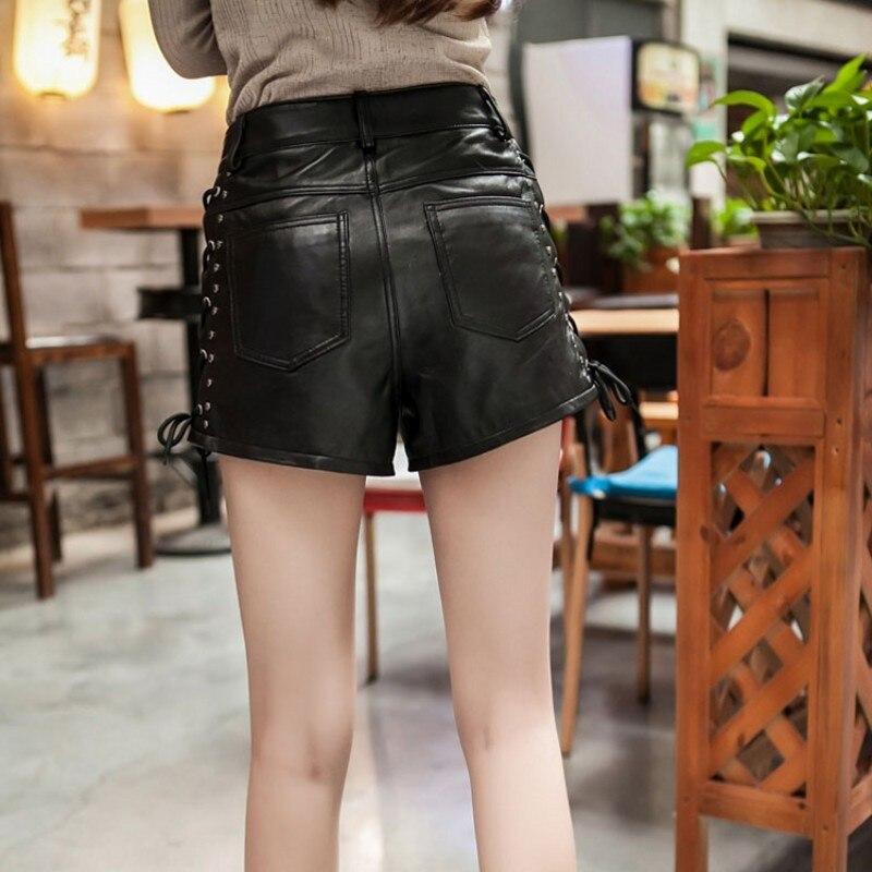 New Designer Rivet Lace Up Genuínos Shorts de Couro de Pele De Carneiro Shorts De Couro Reais Das Mulheres De Luxo Do Punk Cintura Alta Senhoras Streetwear - 3