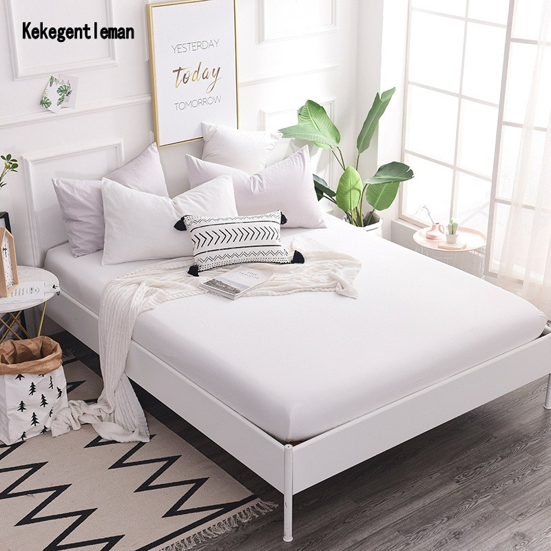 buy 100 polyester fitted sheet mattress cover solid color bedding linens bed. Black Bedroom Furniture Sets. Home Design Ideas