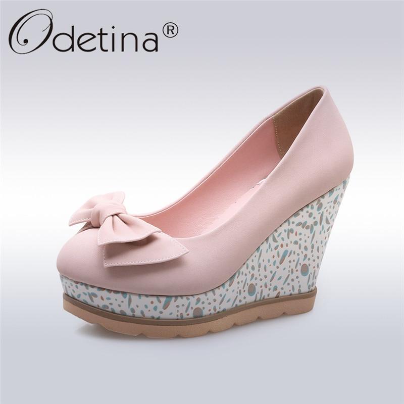 Odetina nouvelles chaussures à talons compensés pour femmes chaussures à plate-forme Bowknot chaussures à talons hauts Super sans lacet grande taille 33-42