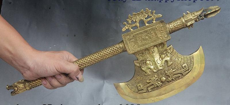 20 Китай Народная Коллекция Латунь Голова Дракона Зверь Ручка топор Топор Боевой Статуя - 2
