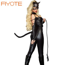 FIYOTE Top Selling Cosplay Sexy Cat Fight Costume LC8907 HOT Wholesale Leather Sexy Latex Catsuit Cat Woman Sexy Cat Costume