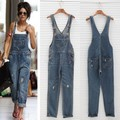 New Arrived 2015 Summer New Fashion Sexy Rompers Womens Jumpsuit Denim Jeans Jumpsuit Long Pants Sexy Jumpsuits Long Pants 50