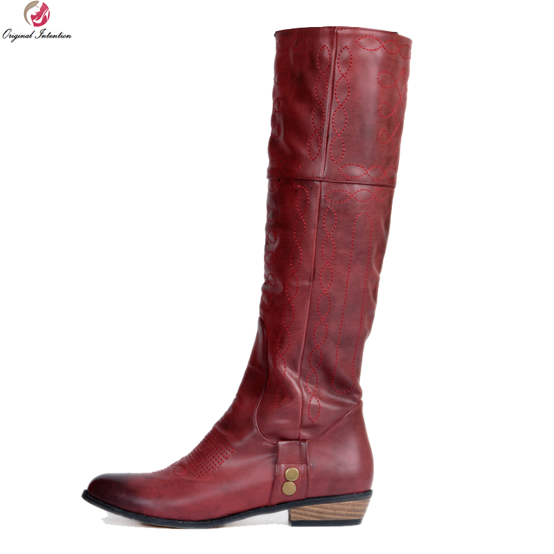 Original Intention New High-quality Women Knee High Boots Fashion Round Toe Square Boots Wine Red Shoes Woman Plus US Size 4-15 ...