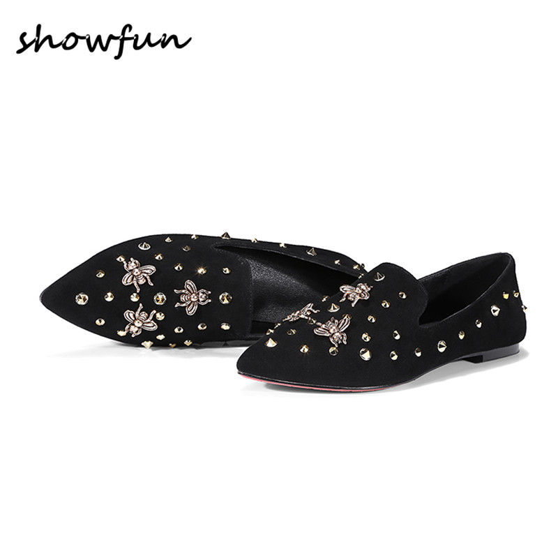 Women's Genuine Suede Leather Bee Rivet Slip-on Flats Brand Designer Pointed Toe Leisure Comfortable Female Footwear Shoes Sale women s genuine leather slip on loafers brand designer flats moccasins leisure espadrilles antiskid comfortable shoes for women