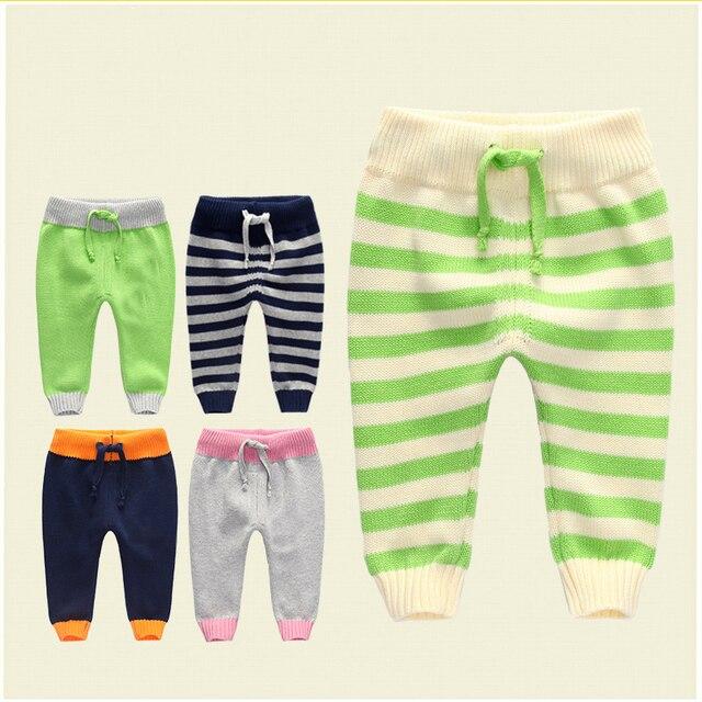 Новая коллекция весна осень теплая новорожденный брюки шнурок лоскутное хлопка вязать детские леггинсы причинно малышей детские брюки