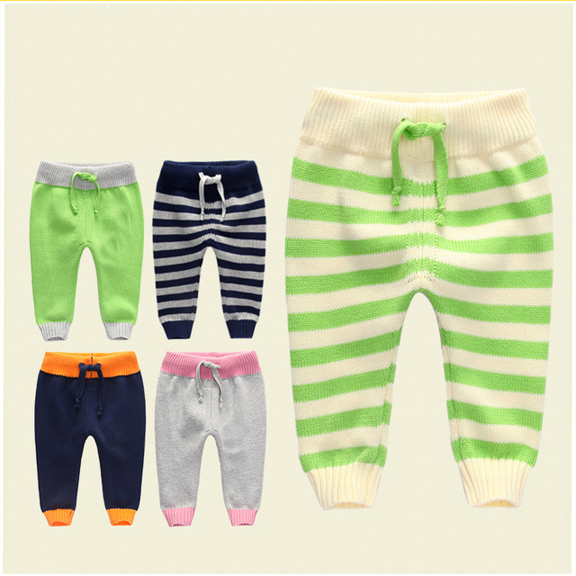 Nova primavera outono quente calças cordão patchwork tricô de algodão infantil do bebê recém-nascido do bebê leggings causal calças da criança do bebê